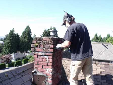 This chimney is getting a total facelift.